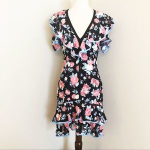 Foxiedox NEW | floral fit & flare ruffled dress S